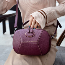 2019 New Fashion Korean Woman Handbag Single Shoulder Bag Purple Genuine Leather Flap  Bolsa Feminina