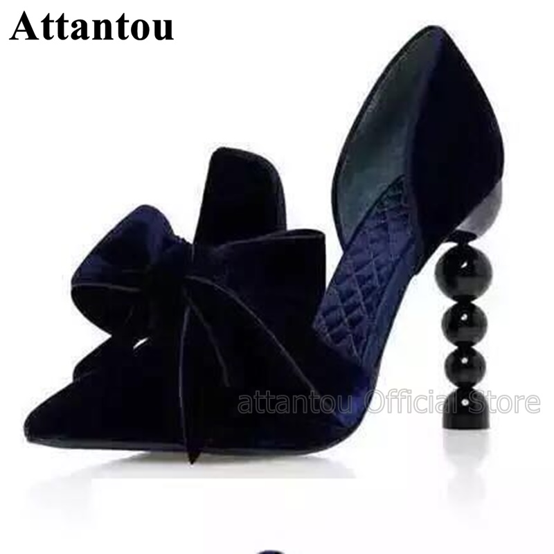 Fashion Dark Blue White Vintage Designer High Heel Dress Shoes Women Big Bowtie Knot Strange Heeled Party Pumps Pointy ShoesFashion Dark Blue White Vintage Designer High Heel Dress Shoes Women Big Bowtie Knot Strange Heeled Party Pumps Pointy Shoes
