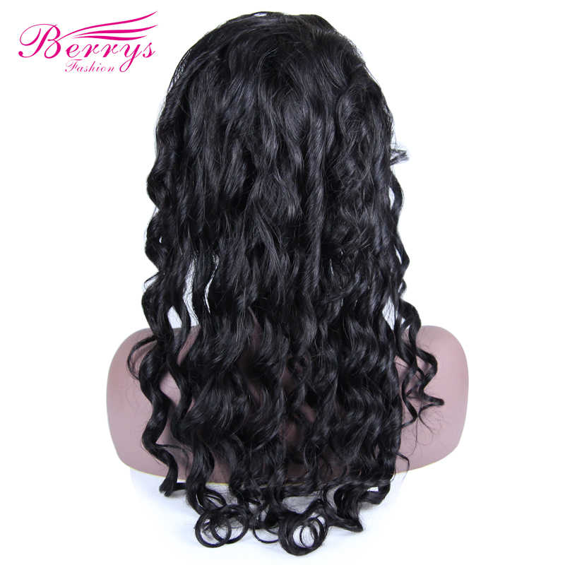 """Top 10A Grade Full Lace Wigs Loose Wave 130% Density Natural Hairline with Baby Hair 12-24"""" Natural Color Berrys Fashion"""