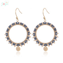 Badu Ethnic Stainless Steel Earrings For Women Boho Circle Hollow Dangle Jewelry Indian Fashion