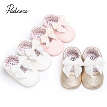 2019 Brand Cute Infant Baby Crib Shoes Soft Sole PU Leather Boy Girl Toddler New Newborn Solid Bowknot Crib Shoes 0-18M cheap pudcoco All seasons Unisex Butterfly-knot Elastic band Cow Muscle Fits true to size take your normal size