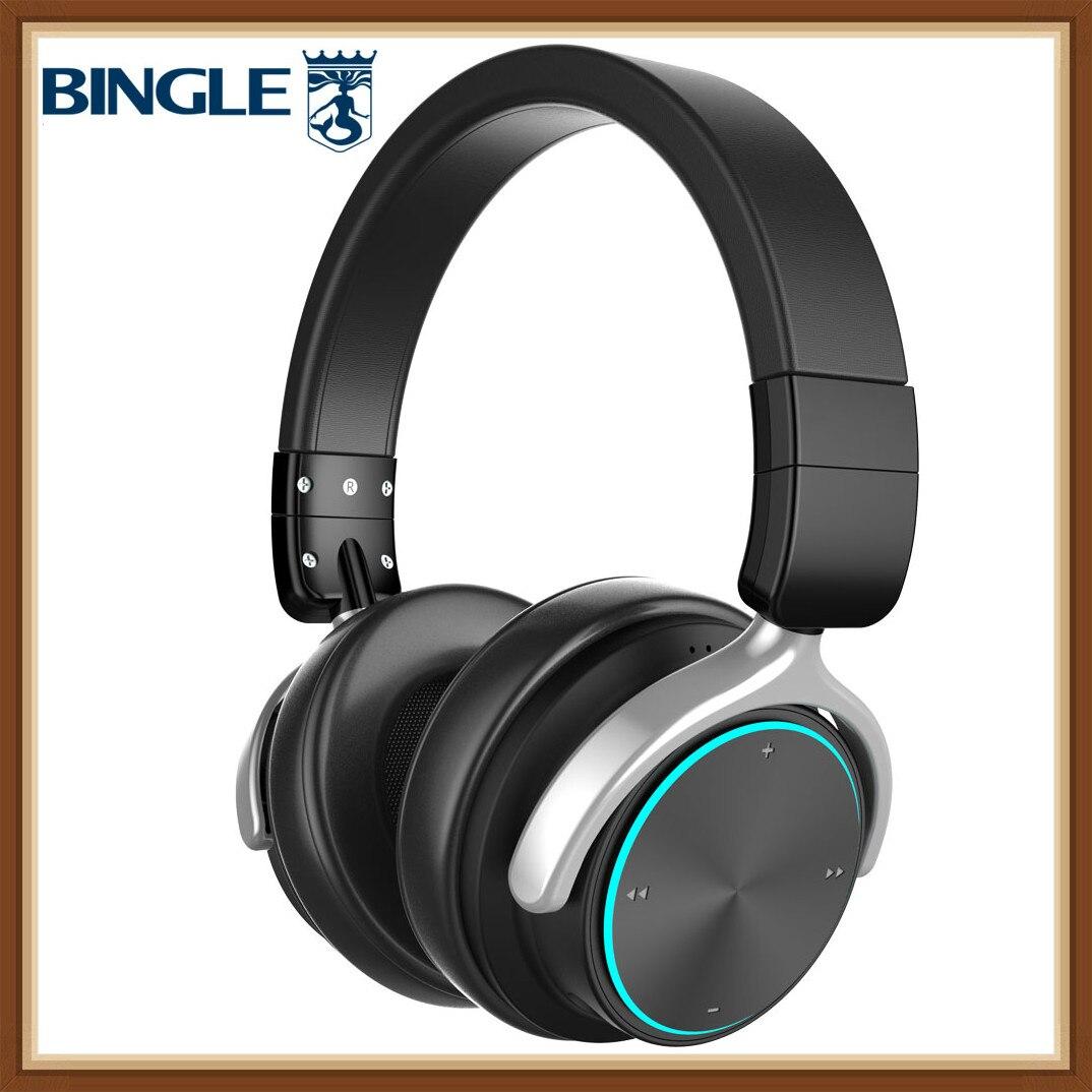 Bingle Q3 meilleur Microphone amovible en métal haut de gamme RGB lumière LED sur les écouteurs sans fil Bluetooth