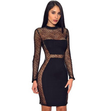 MUXU fashion black lace dress pencil patchwork vestido sexy transparent kleider clothing frocks  bodycon clothes long sleeve