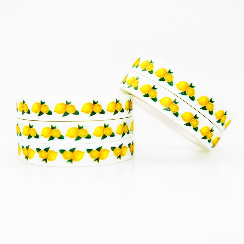 Sour Lemon Pattern Washi Masking Tape Sticky Color Decorative Tape Set DIY Decoration Office Stationery Scrapbook 1PCS