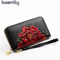 Women Wallets Genuine Leather Long Female Coin Purse Zipper Woman Wallet Flower Printing Ladies Wrist Phone Pocket Clutch Bags