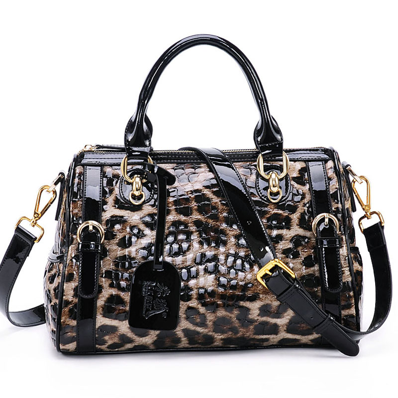Women Genuine Leather First Layer Cowhide Leopard Pattern Handbag Shoulder Crossbody Bag Patent Leather Pillow Tote Messenger handbag