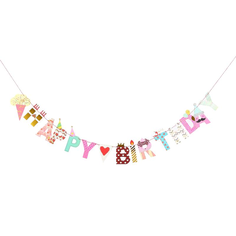 2m HAPPY BIRTHDAY Paper Banners Flags Colorful Garland Decor for Baby Birthday Decorations