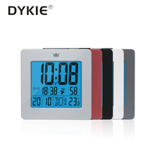 DCF Radio Control Digital Clock with Blue backlight Time Day Month Week Temperature LCD Screen Snooze Alarm of Bedroom