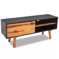 VidaXL Solid Acacia Wood TV Cabinet With A Door 120x35x50cm Practical Living Room TV Stands With Convenient Cable Outlet