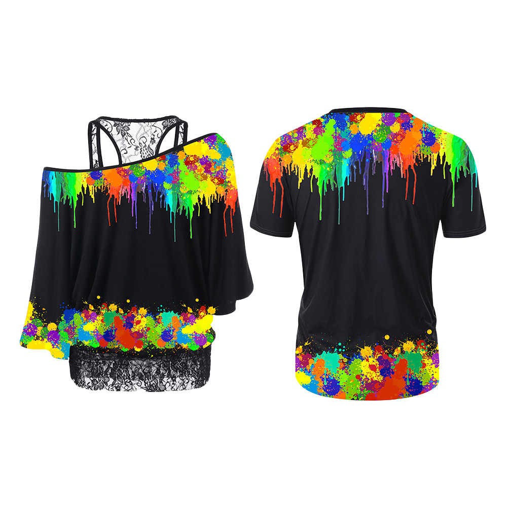 Camiseta de pareja de moda 2019 camiseta de pareja con cuello redondo de pintura de talla grande Wipalo top