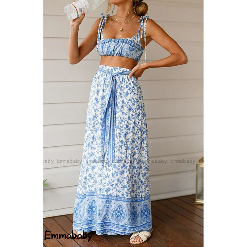 Women 2Pcs Set Clothes Suit Flower Boho Holiday Bodycon Crop Top Long Flare Pants Casual Ladies Summer Outfit Beach Fashion 2019