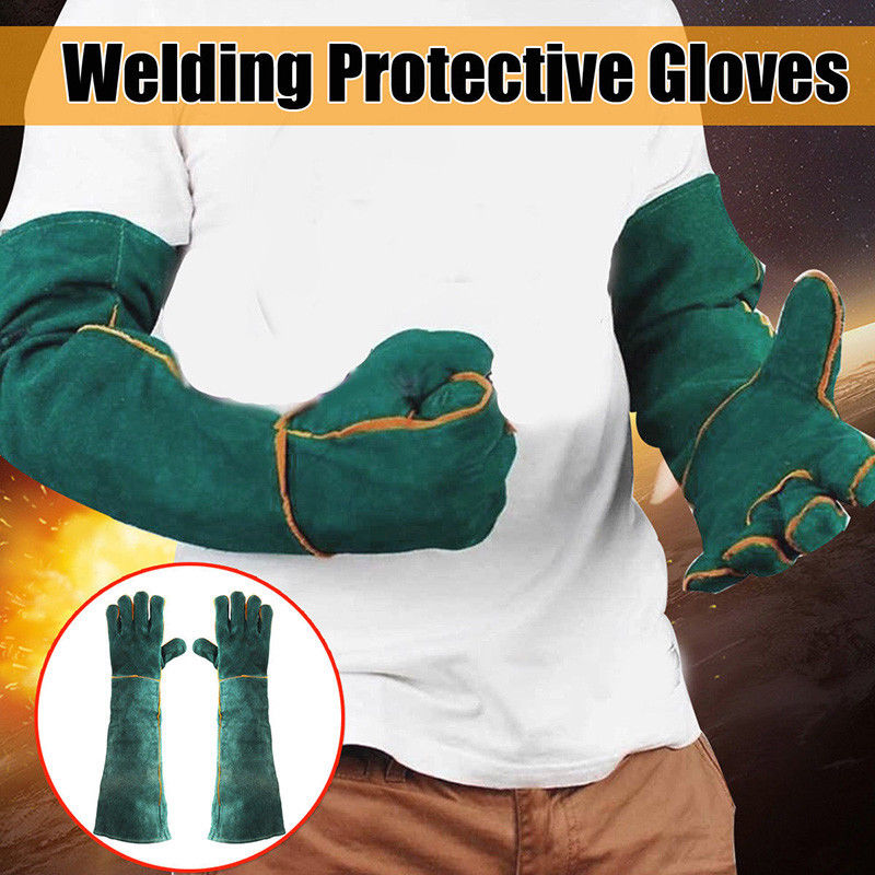 60cm Green Welders Gloves Cow Split Leather Factory Gardening Welding Wood Stove Work Gloves Heat Resistant Long Section