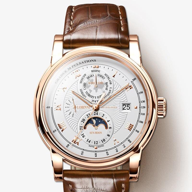 LOBINNI Men Watch Luxury Brand Moon Phase Automatic Mechanical Men s Wirstwatches Sapphire Leather World Time