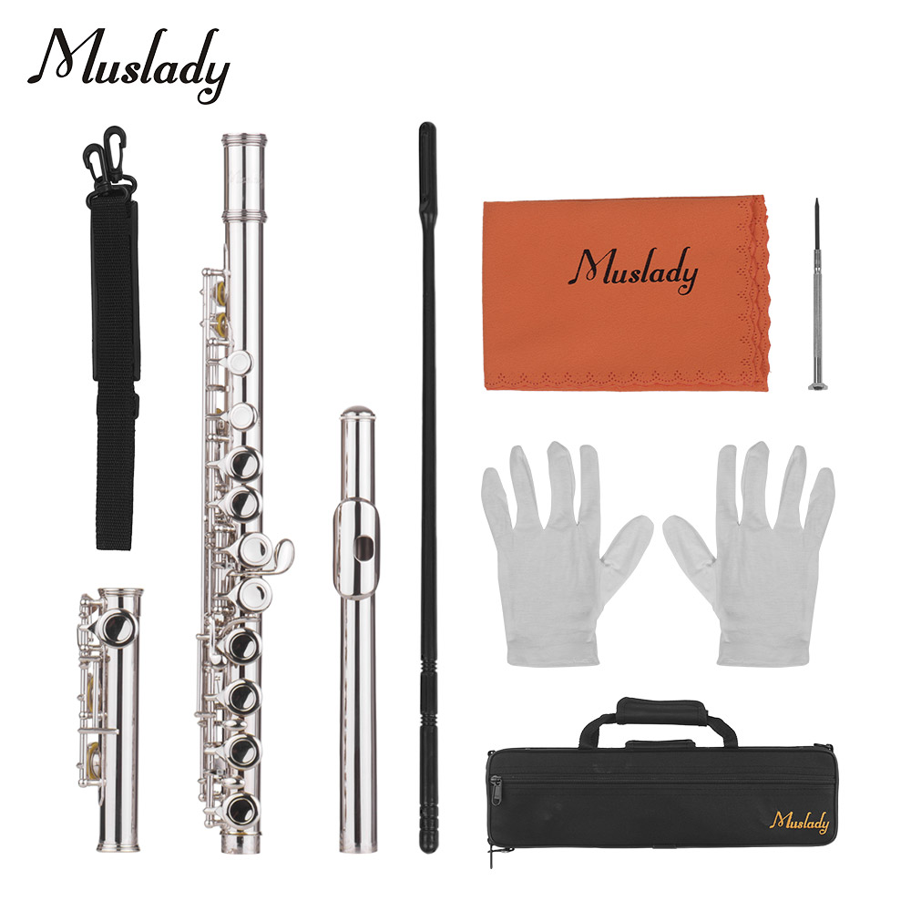 Muslady 16 Holes Closed Hole Flute C Key Flutes Cupronickel Woodwind Instrument with Cleaning Cloth Rod