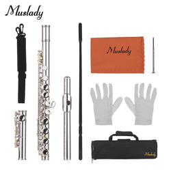 Muslady 16 Holes Closed Hole Flute C Key Flutes Cupronickel Woodwind Instrument with Cleaning  Cloth Rod Gloves Screwdriver