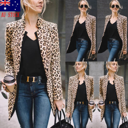 Women Coat Jackets Blazer Long-Sleeve Leopard-Print Sexy Office Lady Plus-Size Fashion