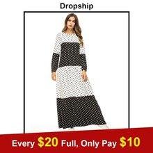 Dropship negro blanco Polka Dot imprimir vestido largo Urban Casual de las mujeres  musulmanas Maxi vestido básicos vestidos árab. f194e583bd24