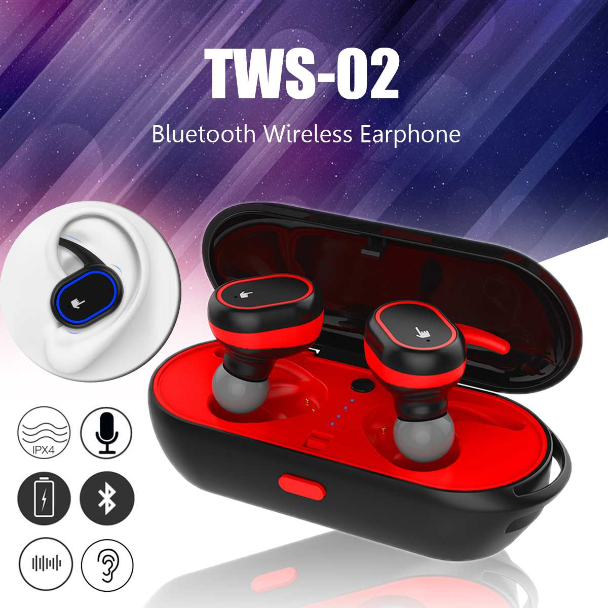 TWS Wireless Earbuds 4.2 bluetooth Wireless Earphones Headset Twins Earbuds Sport Earphone + Charging Box For iPhone for Samsung