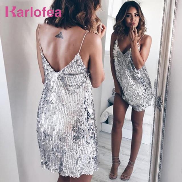 Karlofea Deep V Neck Silver Sequined Club Dress Women Sexy Strap Mini Dress  Fashion Shiny Party Streetwear Chic Glitter Dress c10484dc9dcd