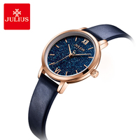 Julius Fashion Rose Gold Women Watches Luxury Star Sky Dial Ladies Quartz Watch Classic Blue Leather Strap Female Wristwatch
