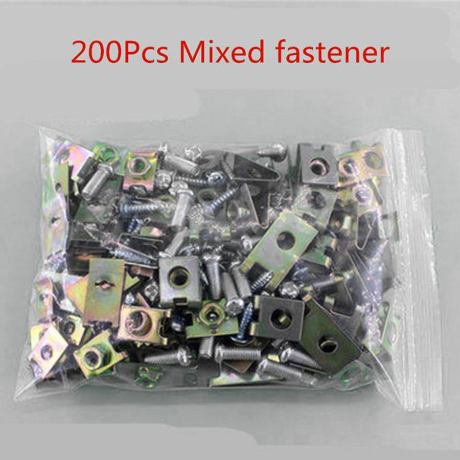 200Pcs Mixed Car Body Door Panel Fastener Fixed Screw U Type Gasket Fender Clips
