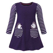AmzBarley Fashion Long sleeve dresses with Pockect for girls cotton Striped children kids dress toddler girl clothes