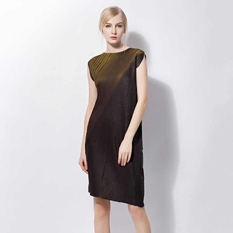 LANMREM 2019 летняя одежда в клетку для женщин с круглым вырезом асимметричное, с короткими рукавами контрастных цветов свободного кроя повседневные платья Горячая NA910