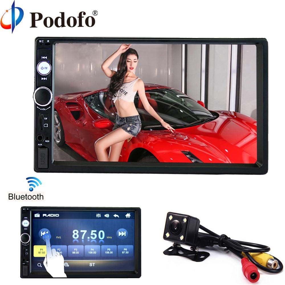 Podofo 2 din coche radio 7 HD jugador MP5 Digital de pantalla táctil Bluetooth Multimedia USB 2din Autoradio Coche copia de seguridad Monitor