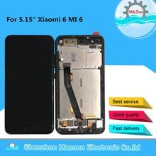 """5.15 """"המקורי M & סן לשיאו mi 6 MI 6 Mi 6 M6 MI 6 עם טביעת אצבע LCD תצוגת מסך עם מסגרת + לוח מגע מסך Digitizer"""