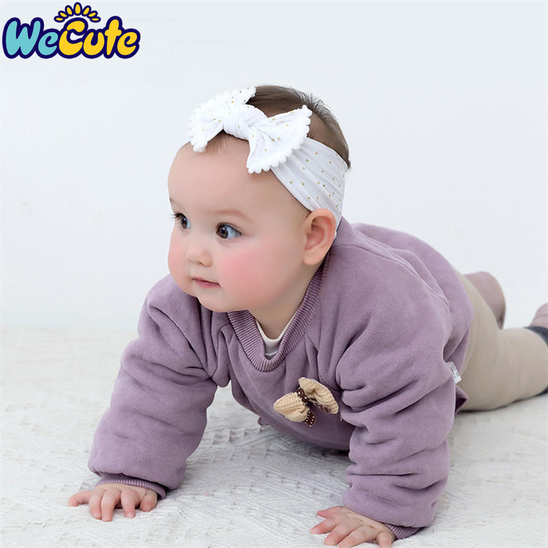 Wecute Baby Headband White Hair Ball Bow Super Soft Childrens Nylon Band Infant Girl Accessories Photography Prop