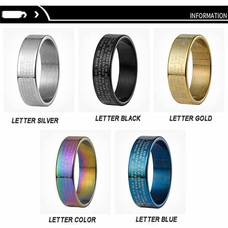 จดหมายไทเทเนียมแหวนเหล็กสำหรับผู้ชายพระเยซู Rose Gold/สีดำแหวนเงินแหวนคนรักแต่งงานเครื่องประดับแหวน