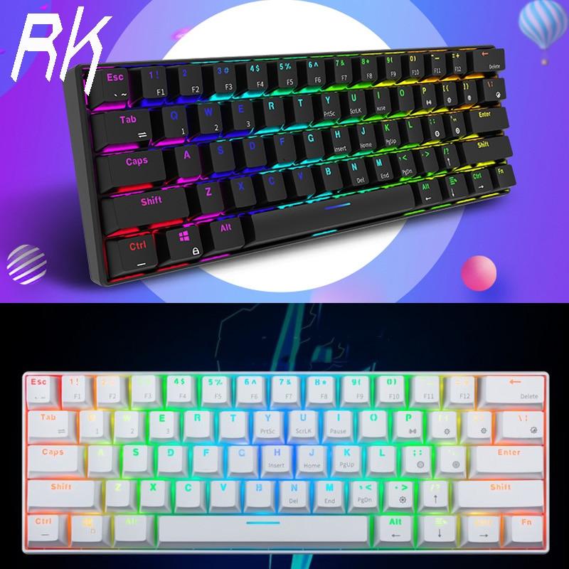Royal Kludge RK61 Ergonomic Keyboard Bluetooth & Wired Dual Mode 60%RGB Light Mechanical Gaming Keyboardfor Laptop Tablet