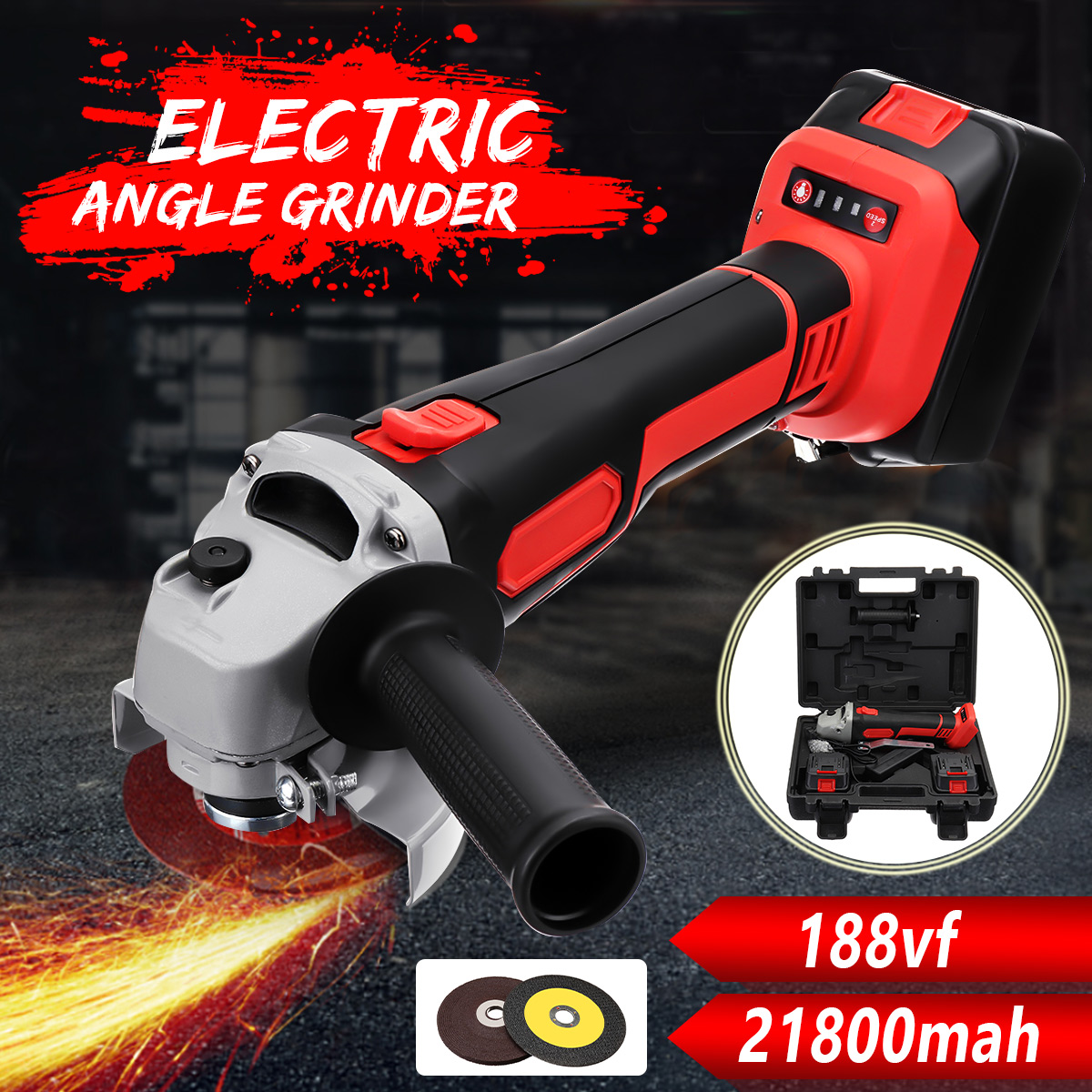 188Vf 21800 mAh Cordless Elétrica Angle Grinder Polisher Ferramenta de Polimento Máquina de Corte com 2 bateria para moagem de corte de metal