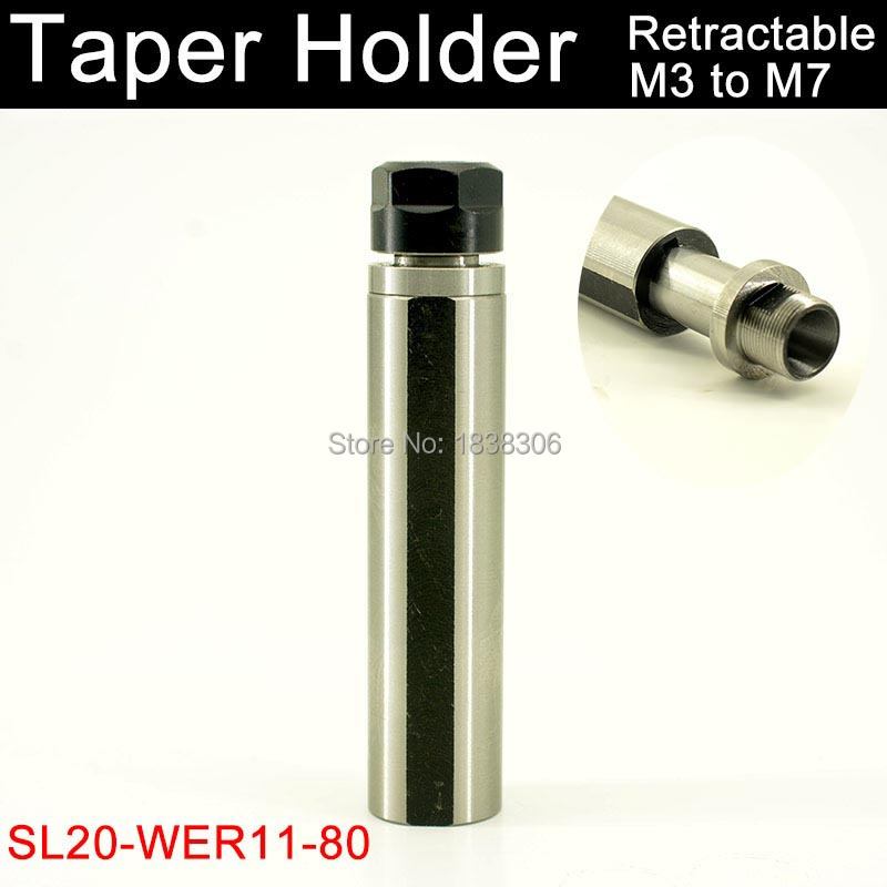 ER11 collet chuck retractable 1pcs SL20-WER11M-80L Floating straight shank tapping collet chuck and tapping holder for lathe marking tools
