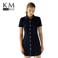 Kissmilk Plus Size Winter Simple Sweet College Wind Slim Waist Short Sleeve Multi-button Large Solid color Dress For Female