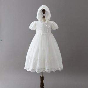 Белое длинное платье для новорожденных, для крещения, для девочек, кружевное платье, одежда для крещения, 1-й день рождения, детские костюмы, ...