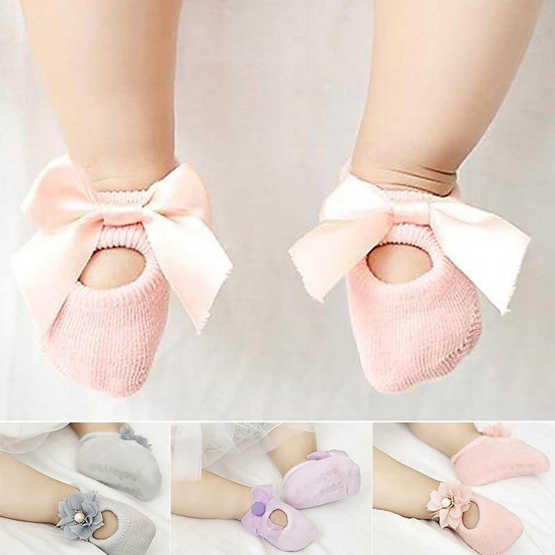 3Pairs/lot Anti-slip Toddler Infant Baby Socks Girl Lace Ribbon Flower Children's Floor Socks Cotton Size For 0-3 Years #H12^