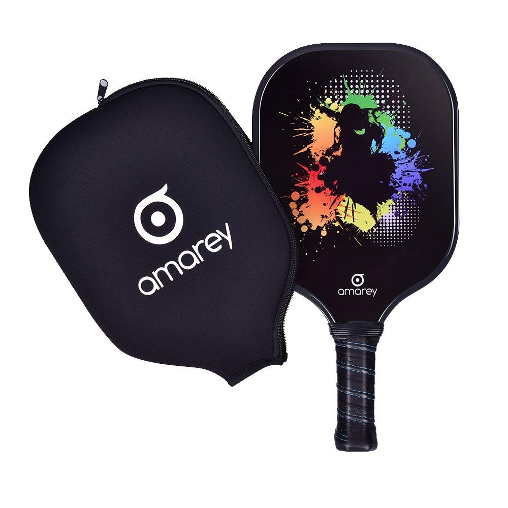 Pickleball Paddle Graphite Pickleball Racket Honeycomb Composite Core Set Ultra Cushion Grip Low Profile Edge Bundle Graphite