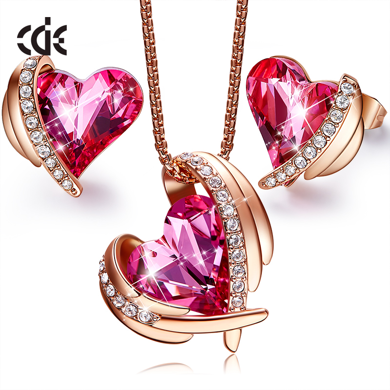 CDE Women Jewelry Sets Embellished with crystals from Swarovski Necklace Earrings Sets Angle Heart Necklace Set Wedding JewelryCDE Women Jewelry Sets Embellished with crystals from Swarovski Necklace Earrings Sets Angle Heart Necklace Set Wedding Jewelry