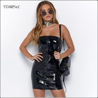 Sexy Strapless PU Patent Leather Short Mini Dress Women Bodycon Backless PVC Latex Front Zipper Nightclub Dresses Package Hip