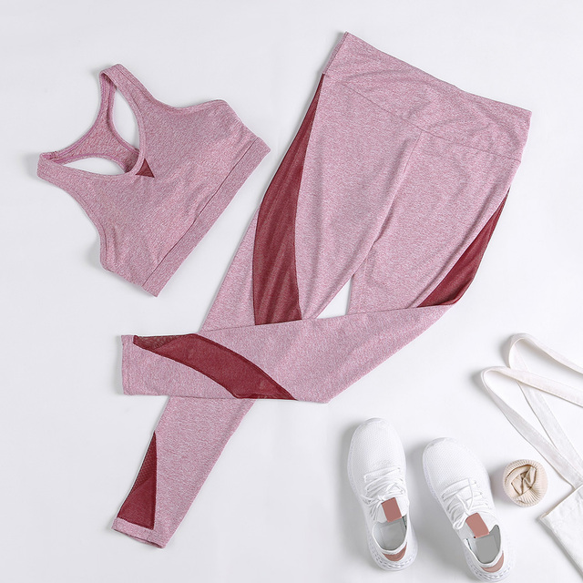 2pcs Solid Colour Splice Mesh Yoga Set