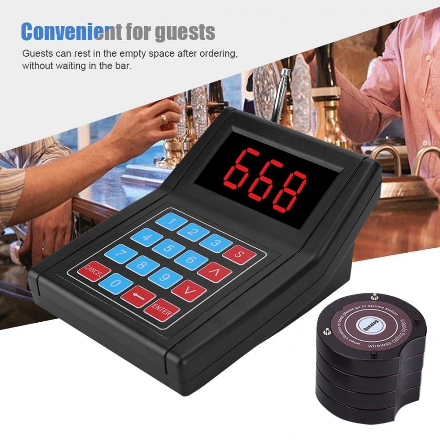 SU 668 30 Receiver Pager Waiter Calling Wireless Paging Queue System Black 100 240V Calling Pagers System 2019