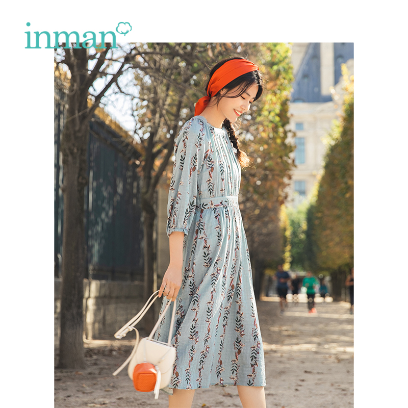 INMAN Spring Autumn O-neck Literary Floral Defined Waist Slim Women Long Dresses