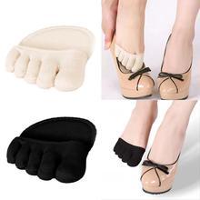 Plantillas medias de algodón, almohadillas para el cuidado de los pies, alivio del dolor en antepié, Gel de masaje para metatarso, almohadillas de soporte para los dedos del pie, plantillas para antepié, 1 par