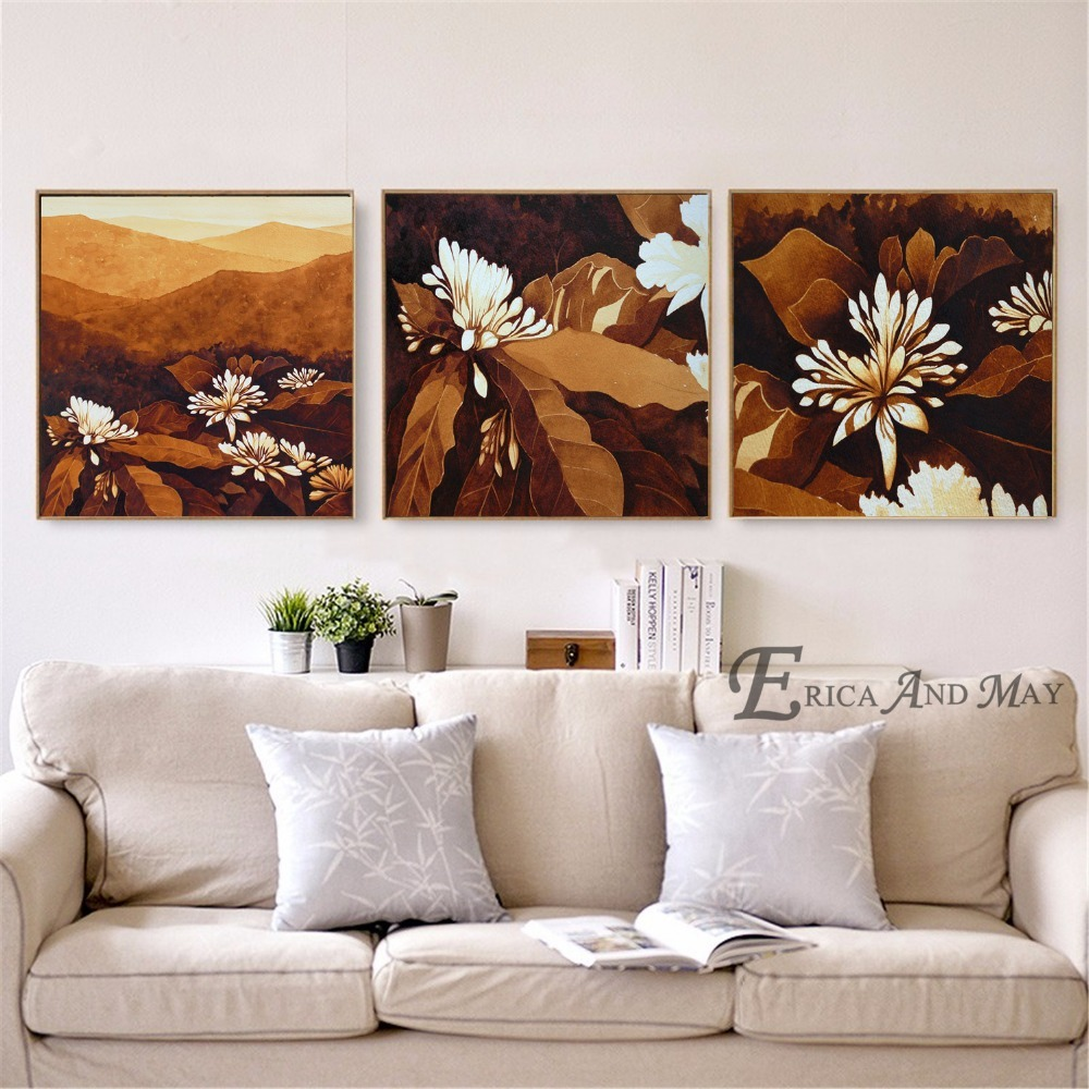 White Flower Chocolate Landscape On Sale Poster Wall Painting Living Room Abstract Canvas Art Pictures For Home Decor No Frame