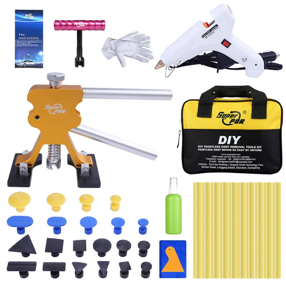 Super PDR Hail Dent Removal Kit Auto Dent Pullers Suction Cup 12V Hot Melt Glue Gun Hot Adhesive Glue Sticks Hand Tools Set Bags