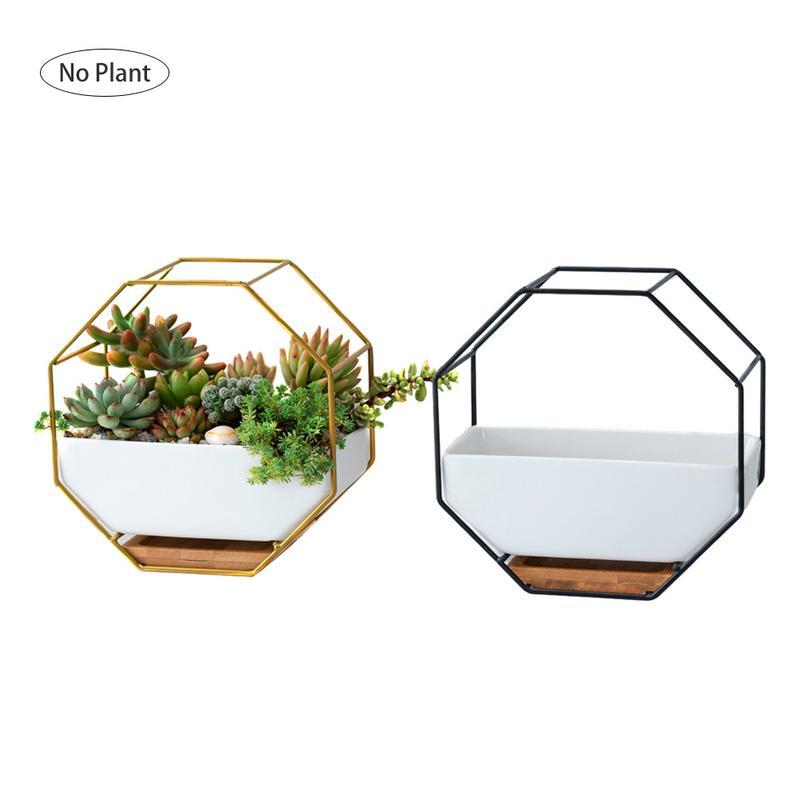 Metall Eisen Rack Weiß Keramik Pflanzer Topf Einfache Achteckige Geometrische Wand Hängen Keramik Blumentopf Bambus Tablett Eisen Rahmen