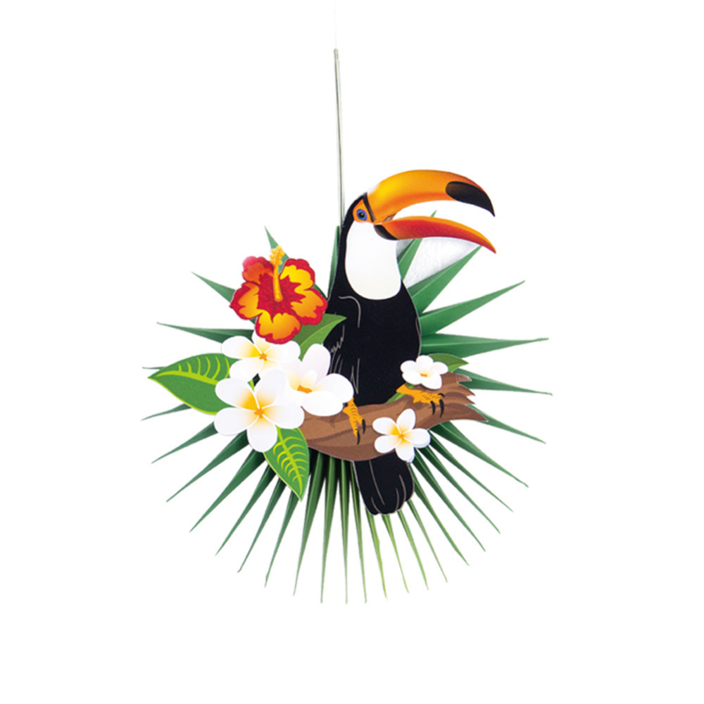 Hawaiian Luau Party Favors Sets of 3612 Summer Garden Party Decoration Tropical Flowers and Flamingo Folding Paper /& Wood Hand Fans
