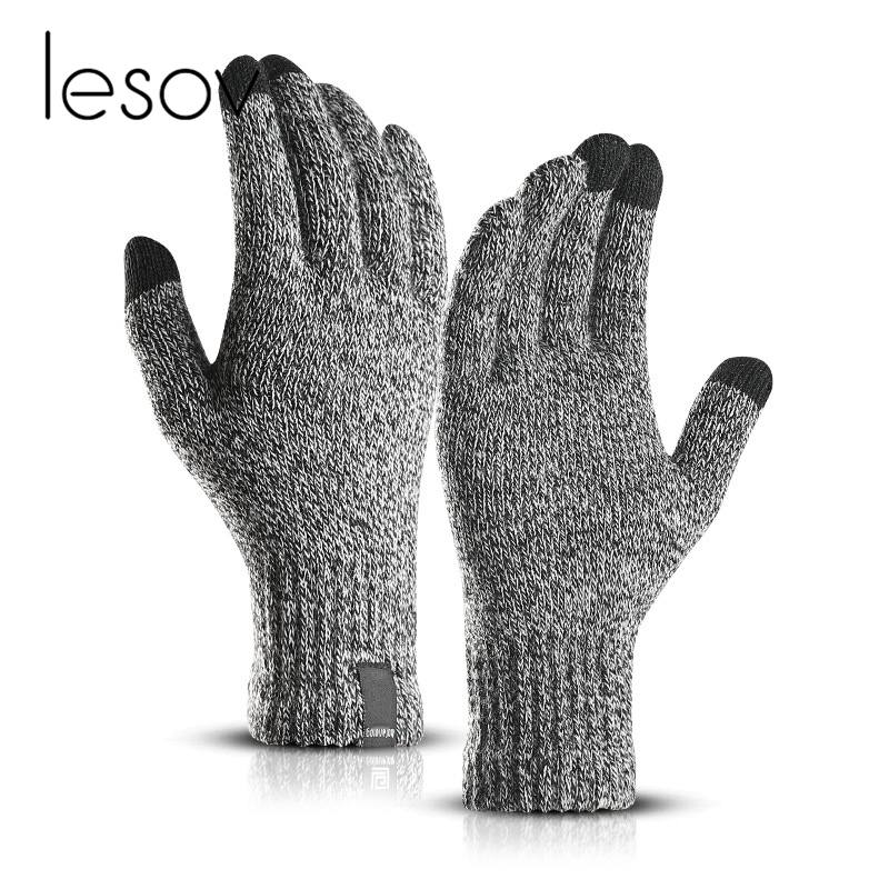 LESOV Woolen Touch Screen Gloves for Men with Highly Sensitive Conductive Fiber on Thumb and Index Finger Works with All Touch Screen Device 1