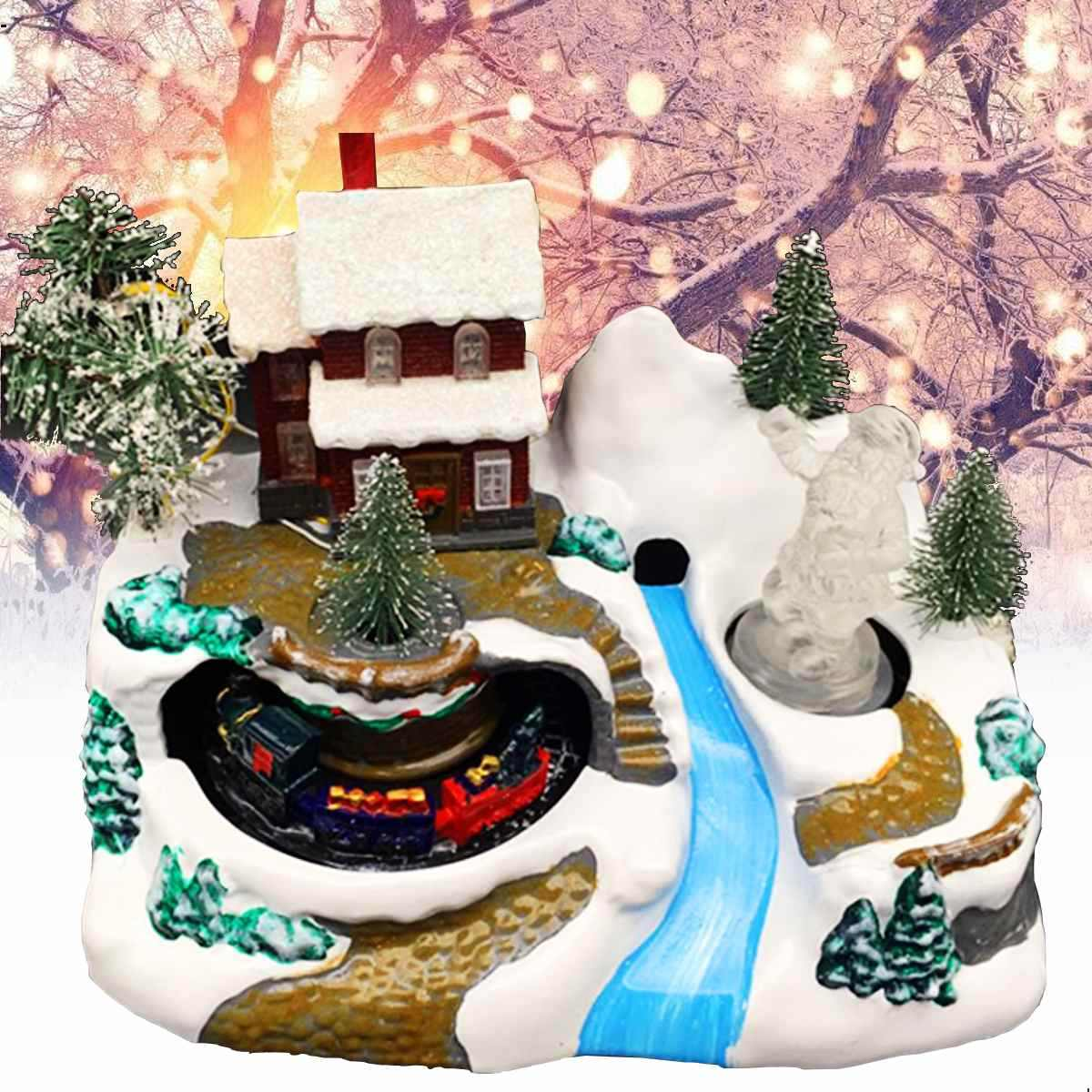 Christmas Scene Music Box With LED Night Light Toy Moving Train Christmas Tree Snow Santa Claus Home Decor Crafts Music Box Gift